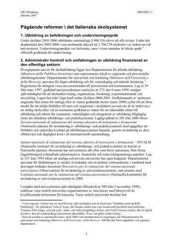 Pågående reformer i det Italienska skolsystemet - GR Utbildning