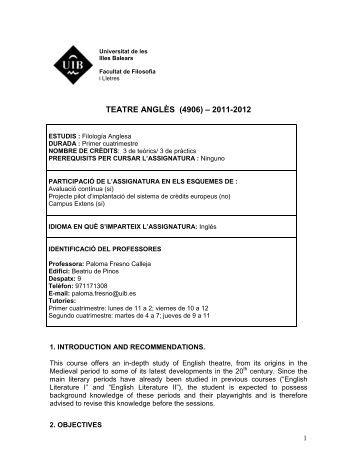 teatre anglès (4906) – 2011-2012 - Universitat de les Illes Balears