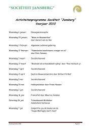 Jaarprogramma 2010 - societeit jansberg