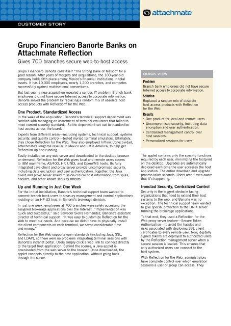 Grupo Financiero Banorte Banks on Attachmate Reflection