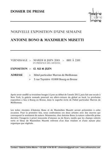 le dossier de presse pour Antoine Bono & Maximilien Musetti