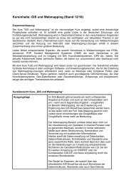 Kursinhalte: GIS und Webmapping (Stand 12/10) - gis-trainer.de
