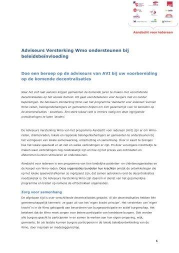 adviseurs versterking wmo ondersteunen bij Met de ... - CG-Raad