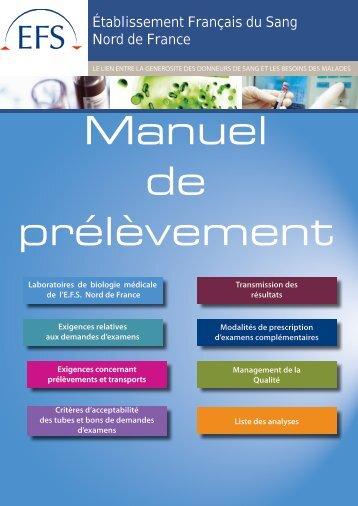 Manuel de prélèvement - Etablissement Français du Sang