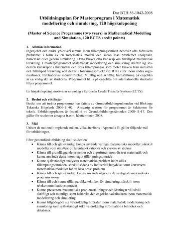 Utbildningsplan (PDF) - Blekinge Tekniska Högskola