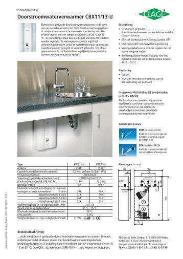Doorstroomwaterverwarmer CBX-U - CLAGE