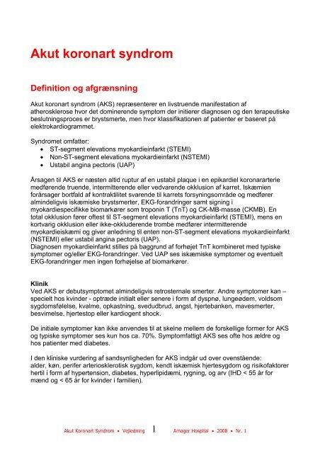 Akut koronart syndrom - Instruksen.dk - Amager Hospital