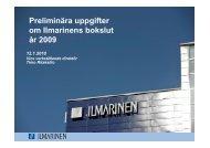 Preliminära uppgifter om Ilmarinens bokslut år 2009