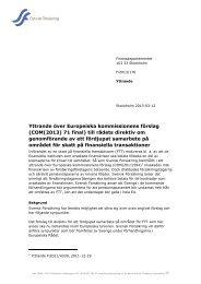Yttrande över Europeiska kommissionens förslag (COM(2013) 71 ...