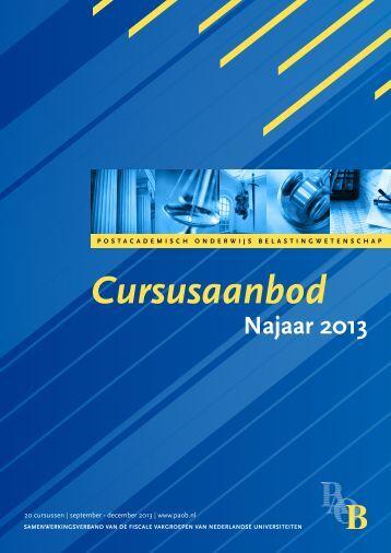 Cursusaanbod najaar 2013 - Paob