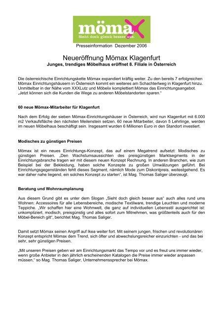0bafee0b7587ff Neueröffnung Mömax Klagenfurt