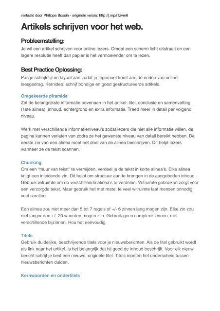 Artikels Schrijven Voor Het Web Probleemstelling Groen