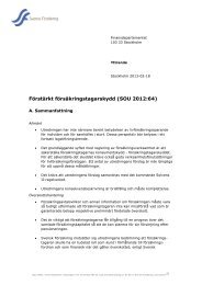 Remissyttrande från Svensk Försäkring - SEB
