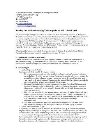 verslag van 10 mei 2004 - Wijkcentrum Vondelpark ...