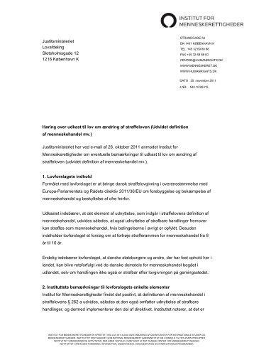 Høring over udkast til lov om ændring af straffeloven (Udvidet ...