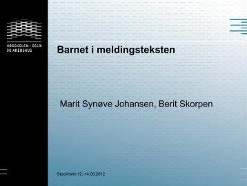Barnet i meldingsteksten - Nordiska Barnavårdskongressen 2012