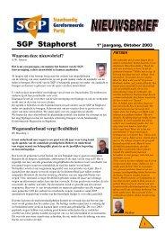 Nieuwsbrief 2003 najaar - SGP Staphorst