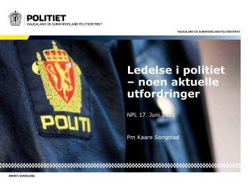 Ledelse i politiet – noen aktuelle utfordringer