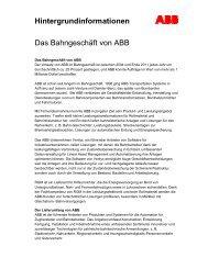 Hintergrundinformationen Das Bahngeschäft von ABB