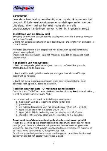 Handleiding Minipoint versie juli