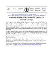 REPRESENTATION EN REPUBLIQUE DU BURUNDI à la FAO et ...