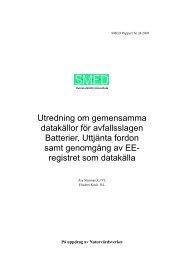 Utredning om gemensamma datakällor för avfallsslagen ... - SMED