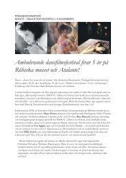 Ambulerande dansfilmsfestival firar 5 år på Röhsska ... - Atalante