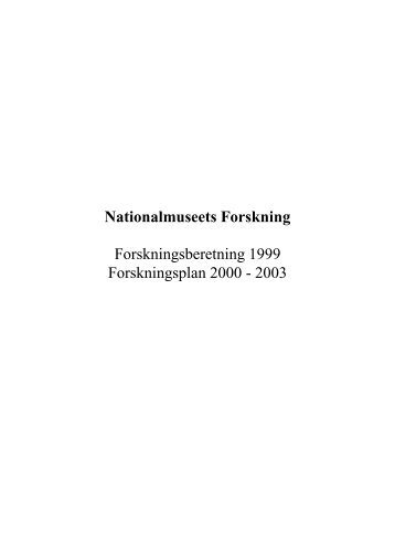 Forskningsberetning 1999 - Nationalmuseet