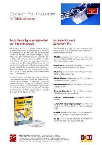 Produktblad - ZAP45.pmd - SafeIT Security