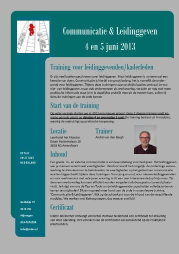 Communicatie & Leidinggeven 4 en 5 juni 2013 - RIN BV