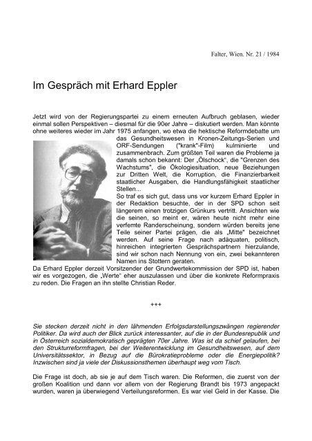 Im Gespräch mit Erhard Eppler - Christian Reder