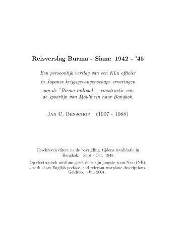 Reisverslag Burma - Siam: 1942 - '45