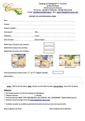 Contrat de location d 39 emplacement dur e d termin e camping - Contrat location emplacement parking ...