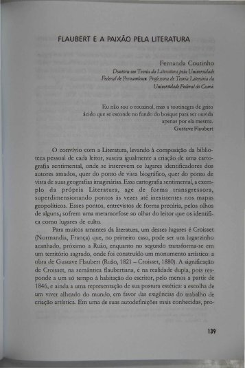 flaubert ea paixão pela literatura - Portal da História do Ceará