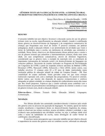 GÊNEROS TEXTUAIS NA EDUCAÇÃO INFANTIL: A ... - GELNE