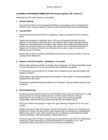 Allmänna villkor, 2011 - SinChriJo Agenturer AB