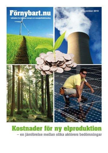 Kostnader för ny elproduktion - Förnybart.nu