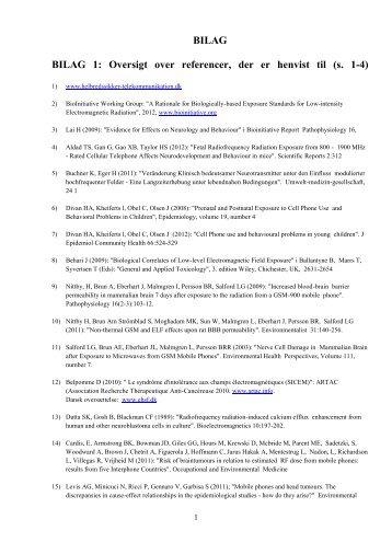 BILAG BILAG 1: Oversigt over referencer, der er henvist til (s. 1-4)