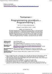 Tentamen i Programmering grundkursoch Programmering C