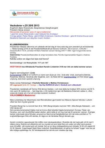Rotary veckobrev v 25 20 juni 2013