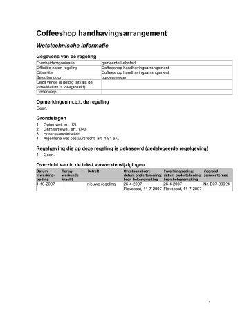 Coffeeshop handhavingsarrangement.pdf - Gemeente Lelystad