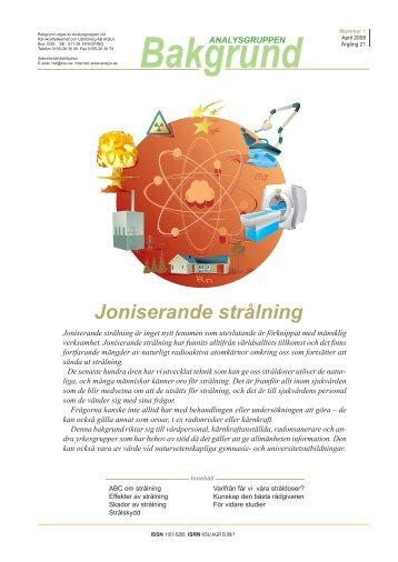 Joniserande strålning - Analysgruppen vid KSU