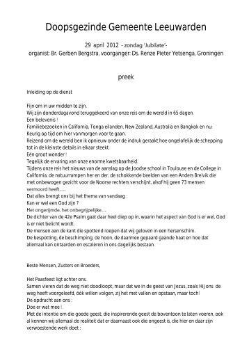 29 Ds. R. P. Yetsinga - Doopsgezinde Gemeente Leeuwarden