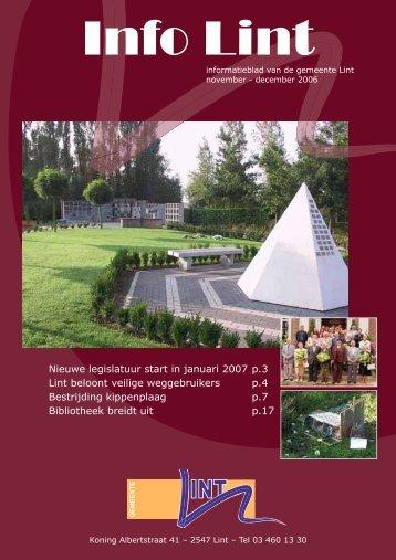 Nieuwe legislatuur start in januari 2007 p.3 Lint beloont veilige ...