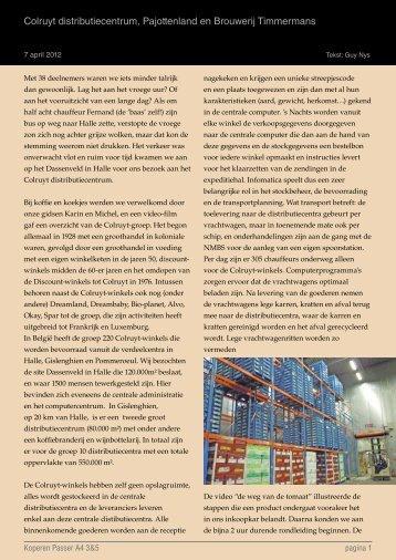 Colruyt distributiecentrum, Pajottenland en Brouwerij Timmermans