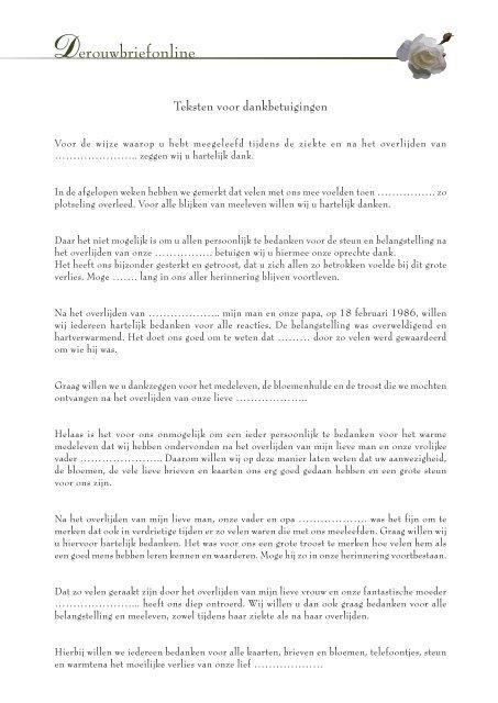 Wonderbaar teksten - liefde en goede herinneringen - Derouwbriefonline OB-57