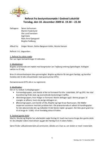 Bestyrelsesmødereferat 10. december 2009 - Gedved Lokalråd