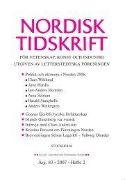 Nordisk Tidskrift 2/07 - Letterstedtska föreningen