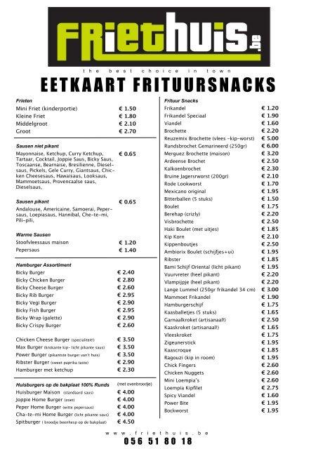 Bekijk hier het volledige snackaanbod - Frituur Friethuis Menen