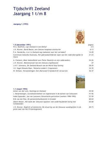 Tijdschrift Zeeland Jaargang 1 t/m 8 - Koninklijk Zeeuwsch ...